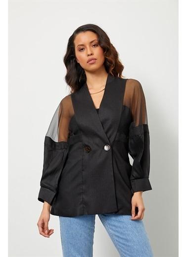 Setre Siyah Keten Organze Kumaş Detaylı Ceket Siyah
